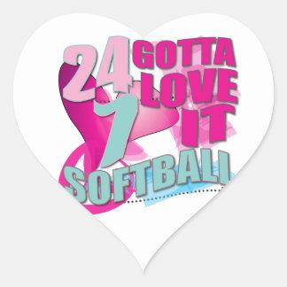 Adorable 24 7 Peace Love Girls Softball Design Heart Sticker
