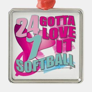 Adorable 24 7 Peace Love Girls Softball Design Metal Ornament