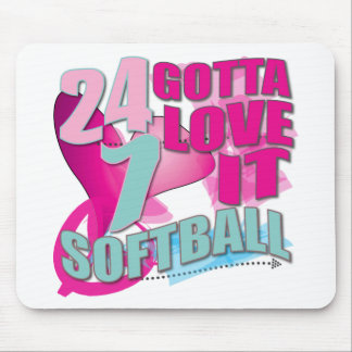 Adorable 24 7 Peace Love Girls Softball Design Mouse Pad
