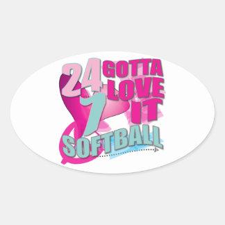 Adorable 24 7 Peace Love Girls Softball Design Oval Sticker