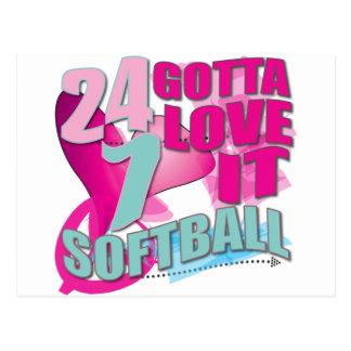 Adorable 24 7 Peace Love Girls Softball Design Postcard