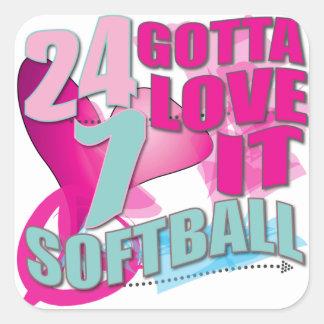 Adorable 24 7 Peace Love Girls Softball Design Square Sticker