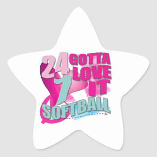 Adorable 24 7 Peace Love Girls Softball Design Star Sticker