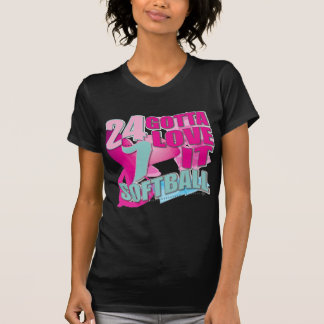 Adorable 24 7 Peace Love Girls Softball Design Tee Shirt