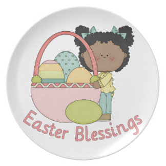 Adorable African American Easter Kids Cards Party Plate