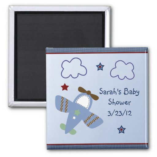 Adorable Airplane/Aviator Baby Shower Magnet