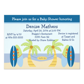 "Adorable ""Aloha Beach Baby"" Baby Shower Invitation"