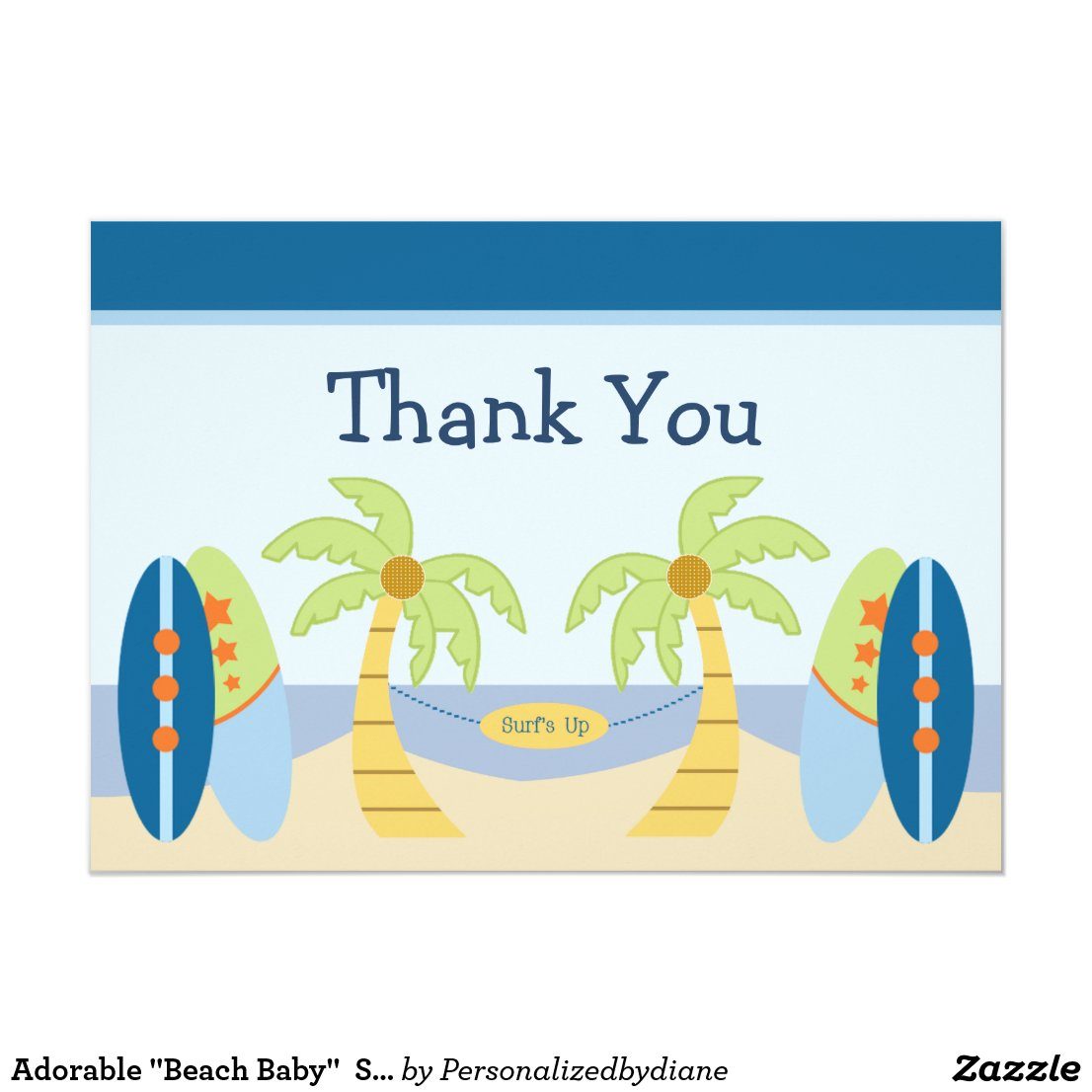 "Adorable ""Aloha Beach Baby"" Shower Thank You Card"