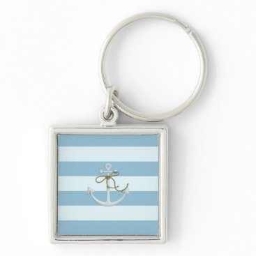 Beach Themed Adorable Anchor on Light Blue and White Stripes Keychain