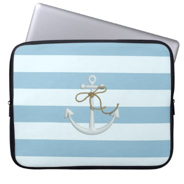 Beach Themed Adorable Anchor on Light Blue and White Stripes Laptop Sleeve