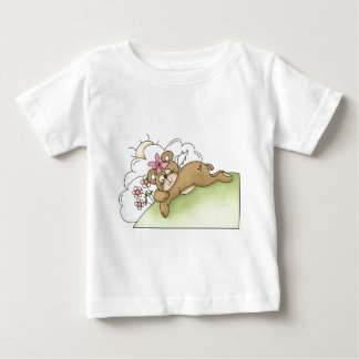 adorable angel bear sleeping in flowers baby T-Shirt