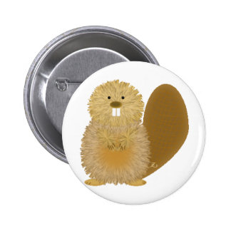 Adorable Animal Drawings: Beaver 2 Inch Round Button