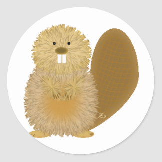 Adorable Animal Drawings: Beaver Classic Round Sticker
