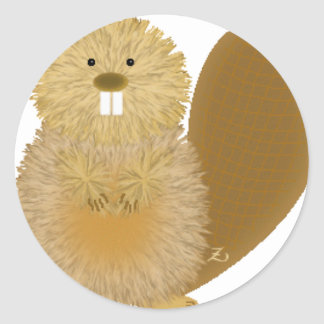 Adorable Animal Drawings Beaver Round Stickers