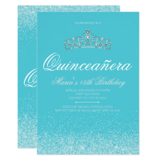 Adorable Aqua Glitter, Quinceanera Invitations