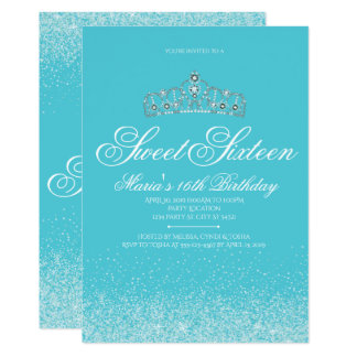 Adorable Aqua Glitter, Sweet 16 Invitations