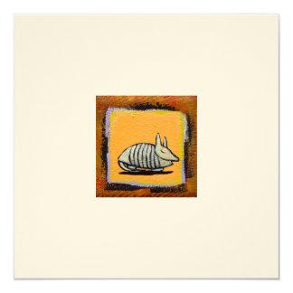 Adorable armadillo art fun cute little painting card