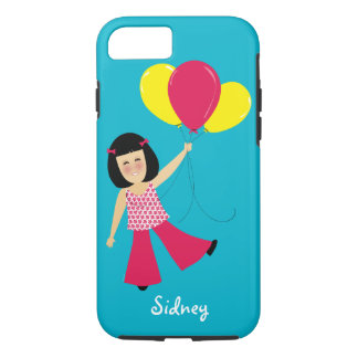 Adorable Asian Girl and Balloons Add a Name iPhone 8/7 Case