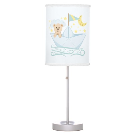 Adorable Baby Bear in Paper Boat Table Lamp