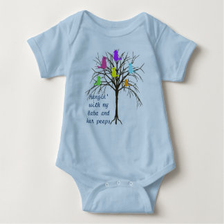 Adorable baby birds - Hangin' with my Baba Baby Bodysuit