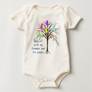 Adorable baby birds - Hangin' with my Grandpa Baby Bodysuit