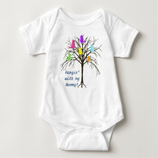Adorable baby birds - Hangin' with my Mommy Baby Bodysuit