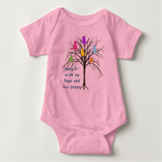 Adorable baby birds - Hangin' with my Papa Baby Bodysuit