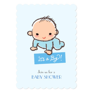 Adorable baby boy Baby shower invitation