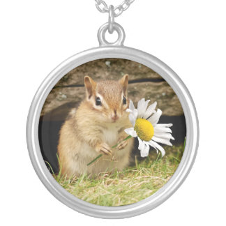 Adorable Baby Chipmunk with Daisy Silver Plated Necklace