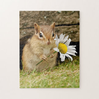 Adorable Baby Chipmunk with Daisy Vertical Puzzle