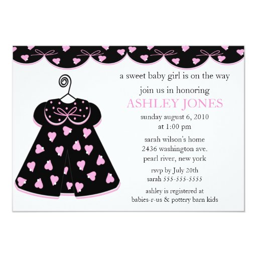 Adorable Baby Dress Baby Shower 5x7 Paper Invitation Card