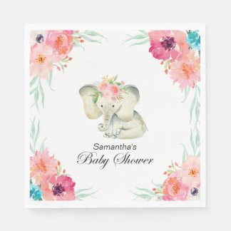 Adorable Baby Elephant Girl Baby Shower Napkin