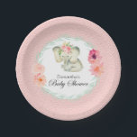 "Adorable Baby Elephant Girl Baby Shower Paper Plate<br><div class=""desc"">An adorable little baby elephant with pink flowers on her head designed especially for baby showers celebrating the arrival of a baby girl. A wreath of watercolor flowers and branches encircles the text. Edit the sample name shown with the Mother-to-Be&#39;s name. Note: These paper plates are available in 2 different...</div>"