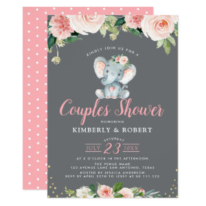 Adorable baby elephant pink floral couples shower Invitation