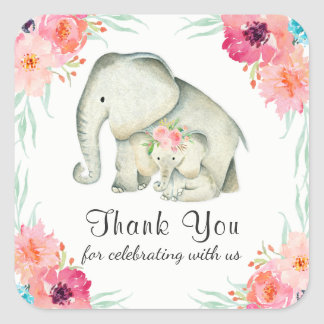 Adorable Baby Elephants Thank You Square Sticker