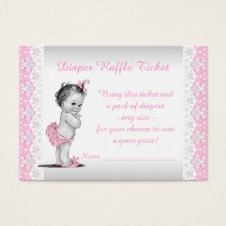 Adorable Baby Girl Pink Diaper Raffle Ticket