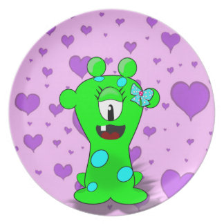 Adorable Baby Green Monster On Hearts Background Dinner Plate