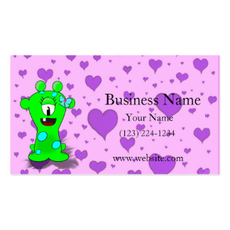 Adorable Baby Green Monster On Hearts Background Double-Sided Standard Business Cards (Pack Of 100)