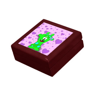 Adorable Baby Green Monster On Hearts Background Keepsake Box