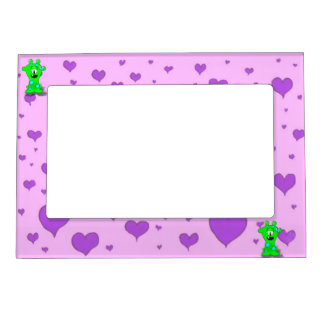Adorable Baby Green Monster On Hearts Background Magnetic Frame