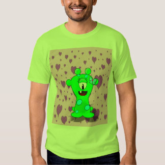 Adorable Baby Green Monster On Hearts Background Shirt