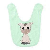 Adorable Baby Horse Green Bib