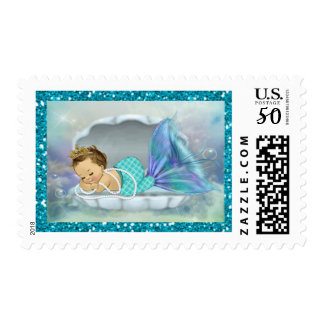 Adorable Baby Mermaid Coral Reef Baby Shower #130 Postage