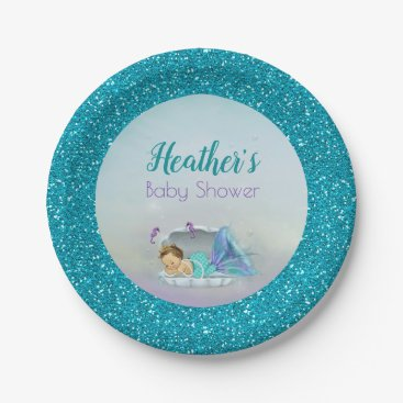 Toddler & Baby themed Adorable Baby Mermaid Party Paper Plates 130 Light