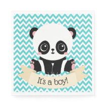 Adorable Baby Panda Blue Baby Shower Paper Napkins
