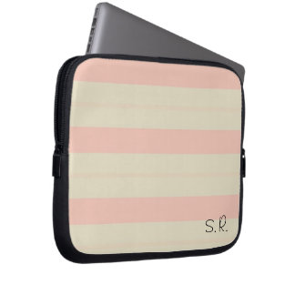 Adorable Baby Pink Stripes Laptop Sleeve