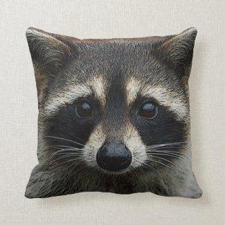 Adorable Baby Raccoon Face Up Close Pillow