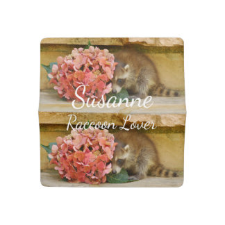 Adorable Baby Raccoon with Flowers Checkbook Cover