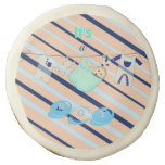 Adorable Baby Shower Blue and Orange Its a Boy Sugar Cookie