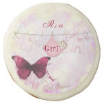 Adorable Baby Shower Butterfly Its a Girl Sugar Cookie